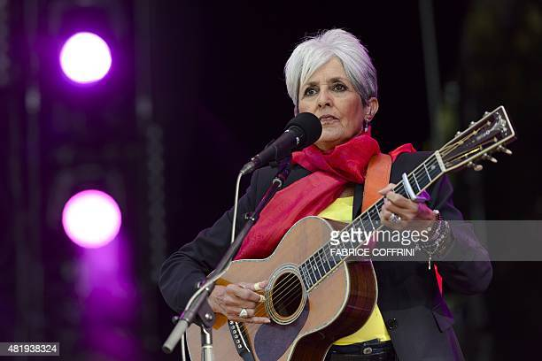 Folk singer Joan Baez performs during the 40th Paleo Festival Nyon on July 25, 2015 in Nyon, the biggest open-air festival in Switzerland and one of...