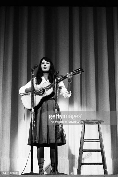 Folk singer Joan Baez performs in October 1960 at Carnegie Hall in New York City New York