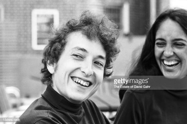 Folk singers Bob Dylan and Joan Baez at the Viking Hotel before performing at the Newport Folk Festival on July 26 1964 in Newport Rhode Island