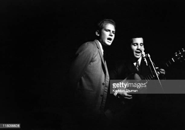 Folk singers Simon And Garfunkel perform at The Bitter End in Greenwich Village on October 20 1964 in New York City New York