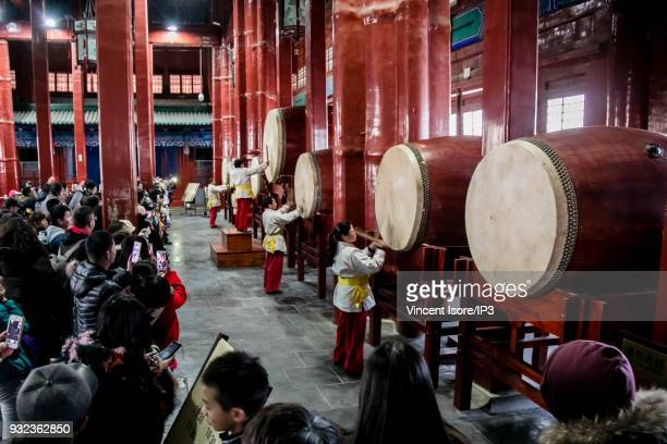 Folklore show at the Drum Tower in the historical center of the Chinese capital on February 17 2018 in Beijing China The Chinese capital marked by a...