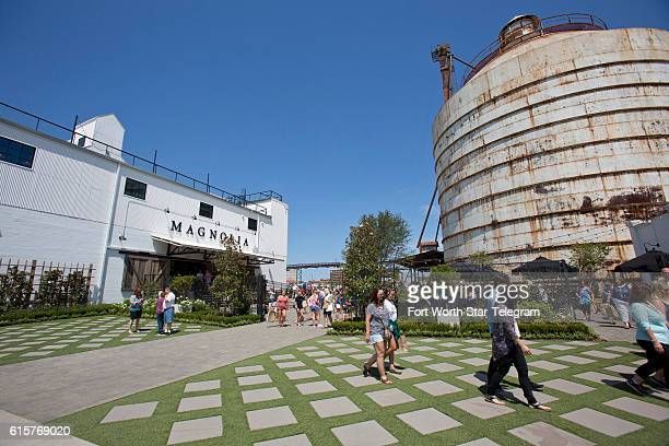 Folks gather at the Magnolia Market at the Silos complex in Waco Texas