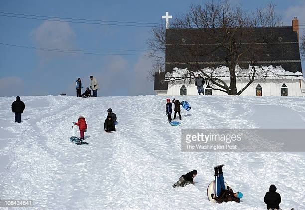 Folks sled the hill at Neelsville Presbyterian Church on Tuesday January 27 2011 in Germantown Md The Washington region got hit with a 68 inch...