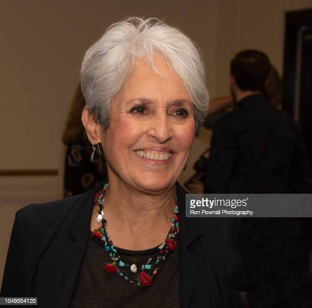 Folksinger Joan Baez chats backstage at the Boch Center Wang Theater on September 14 2018 in Boston Massachusetts