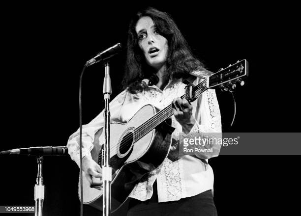Folksinger Joan Baez performs at Ravinia Park in August 1968 in Highland Park Illinois
