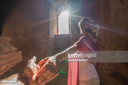 Follow Me To Concept Woman Leading Boyfriend Inside Bagan Ancient