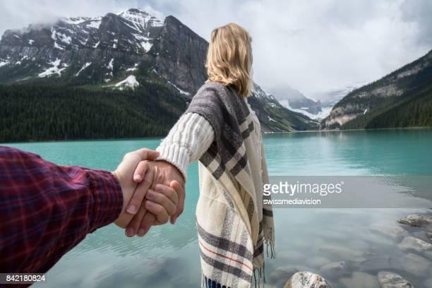 follow me to lake louise - lake louise stock pictures, royalty-free photos & images