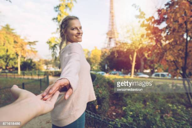 follow me to paris - following stock pictures, royalty-free photos & images