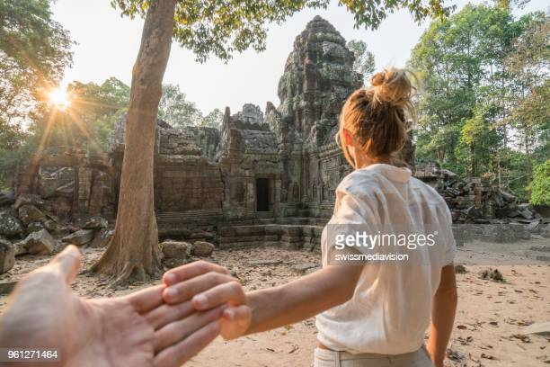 follow me to the treasures of ancient temples, asia - cambodia stock pictures, royalty-free photos & images