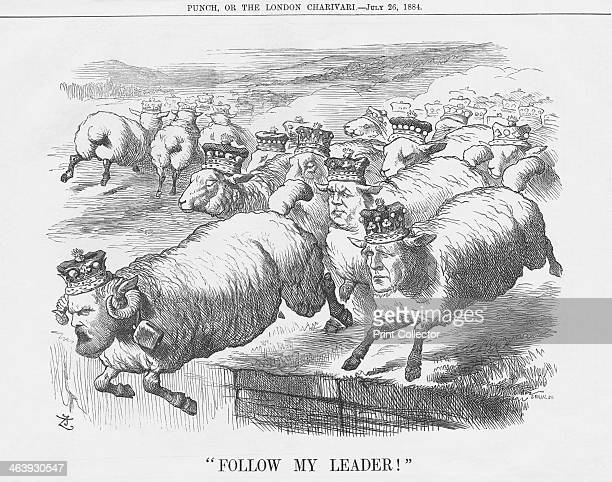Follow My Leader 1884 The Conservative Leader in the Upper House Lord Salisbury leads this flock of sheep over the hurdle This relates to a meeting...