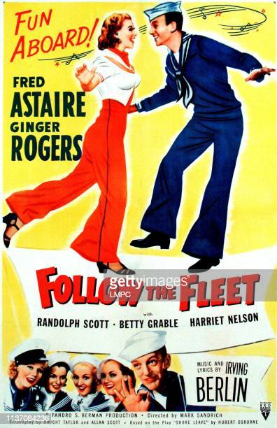 Follow The Fleet poster on top from left Ginger Rogers Fred Astaire bottom left from left Ginger Rogers Astrid Allwyn Betty Grable Harriet Hilliard...