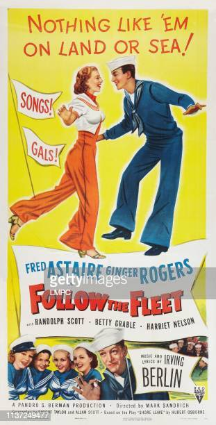 Ginger Rogers Fred Astaire bottom lr Ginger Rogers Astrid Allwyn Betty Grable Harriet Hilliard Fred Astaire on rerelease poster art 1936