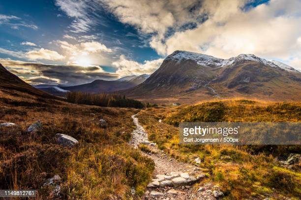 follow the path - glencoe scotland stock pictures, royalty-free photos & images