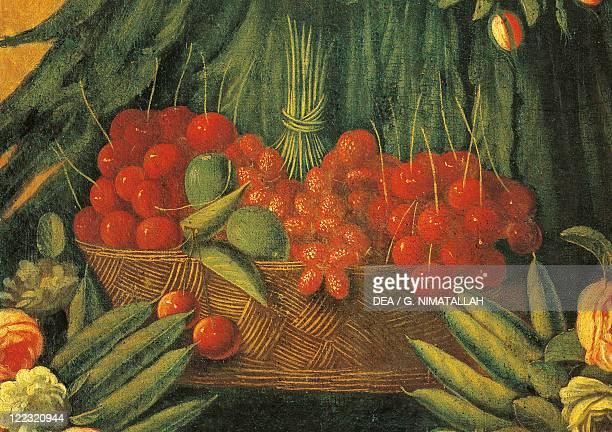 Follower of Giuseppe Arcimboldo 16th century The Spring Detail fruit and pulses