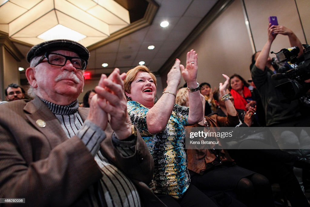 Followers listen as Sen. Robert Menendez (D-NJ) speaks at a press conference on April 1, 2015 in Newark, New Jersey. According to reports, Menendez has been indicted on federal corruption charges of conspiracy to commit bribery and wire fraud.