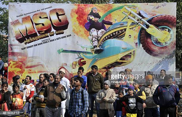 Followers of Dera Saccha Sauda chief Gurmeet Ram Rahim Singh gathered for the premiere of the movie MSG The Messenger of God at Leisure Valley Ground...