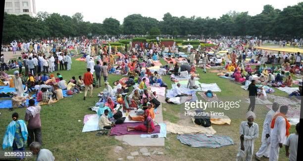 Followers of Dera Sacha Sauda chief Gurmeet Ram Rahim Singh from various part of country reached at sector 3 on August 24 2017 in Panchkula India The...
