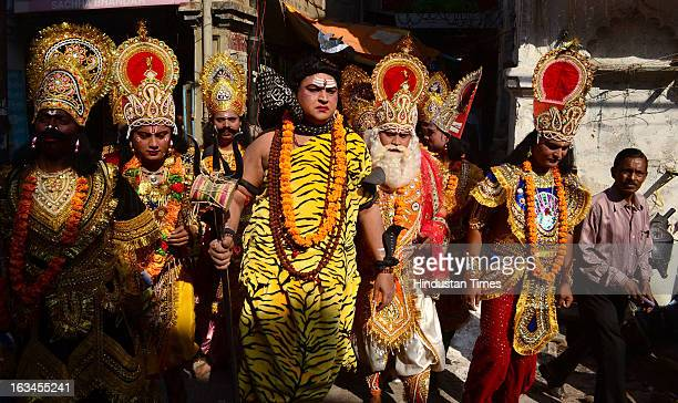Followers of Lord Shiva decked up as 'Baraati' during Shiv Barat on the occasion of Mahashivratri on March 10 2013 in Allahabad India Literally...