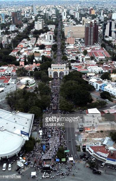 Followers of the Pentecostal church Light of the World take part in the Youth With Values walk along the main avenue of Guadalajara Jalisco State...