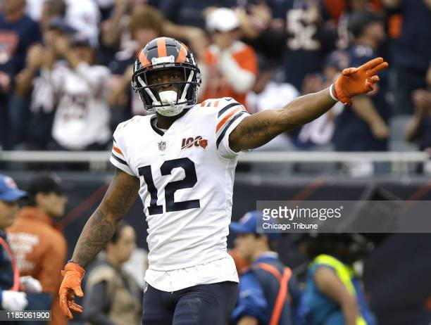 Following a catch, Chicago Bears wide receiver Allen Robinson signals for a first down against the Minnesota Vikings on September 29 at Soldier Field...