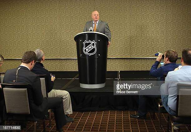 Following a day of negotiations with the NHL Players Association NHL Deputy Commissioner Bill Daly of the National Hockey League addresses the media...