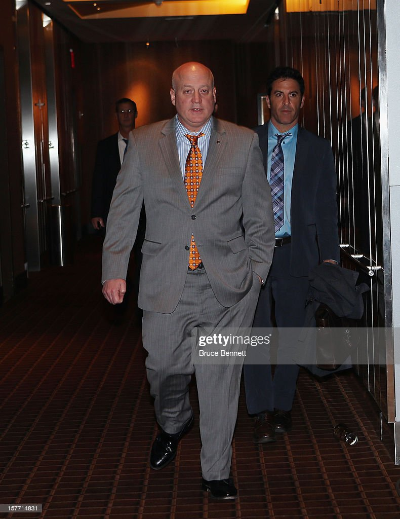 Following a day of negotiations with the NHL Players Association, NHL Deputy Commissioner Bill Daly of the National Hockey League arrives to address the media at the Westin Times Square on December 5, 2012 in New York City.