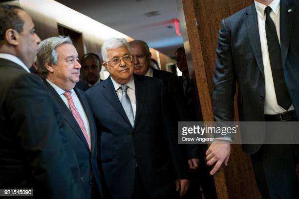 Following a meeting of the United Nations Security Council SecretaryGeneral of the United Nations Antonio Guterres and President of Palestine and...