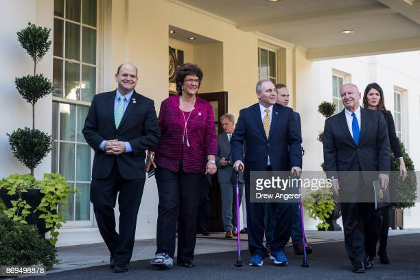 Following a meeting with President Donald Trump Rep Tom Reed Rep Jackie Walorski House Majority Leader Rep Kevin McCarthy Rep Steve Scalise Rep Jason...
