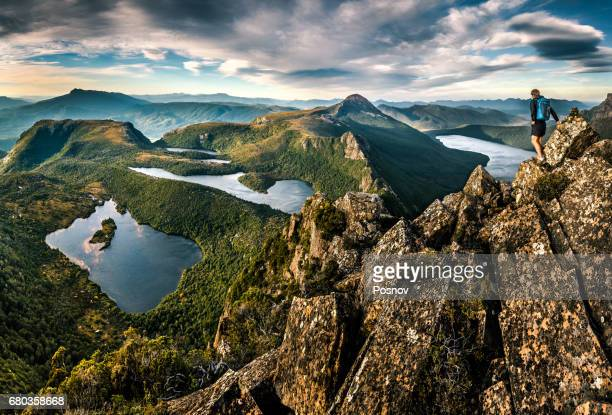 following down the lighting ridge from mt lot at mt. anne circuit.   southwest tasmania - tasmania stock pictures, royalty-free photos & images