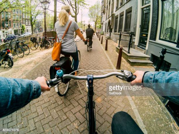Following Friends on His Bicycle
