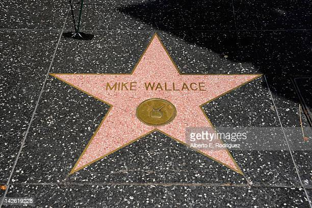 Following his death on April 7th flowers are placed on journalist Mike Wallace's star on the Hollywood Walk of Fame on April 9 2012 in Hollywood...
