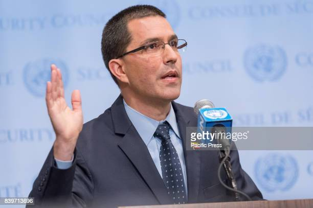 Following his meeting with UN SecretaryGeneral Antonio Guterres Venezuelan Minister for Foreign Affairs Jorge Arreaza is seen during a press...