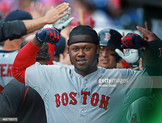Following his ninth inning grand slam the Red Sox Hanley Ramirez flexes his muscles in the dugout The Red Sox did the same as a team as they slugged...