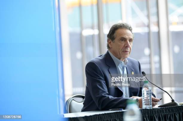 Following the arrival in New York City of the US Naval hospital ship Comfort NY State Governor Andrew Cuomo is seen during a press conference at the...
