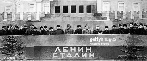 Following the death of Joseph STALIN on March 5 his friends and political colleagues gather at the tribune of the Moscow mausoleum where the body of...