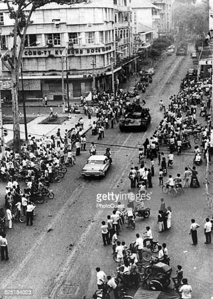 Following the departure of American forces Communist forces enter the city of Saigon Vietnam April 30 1975