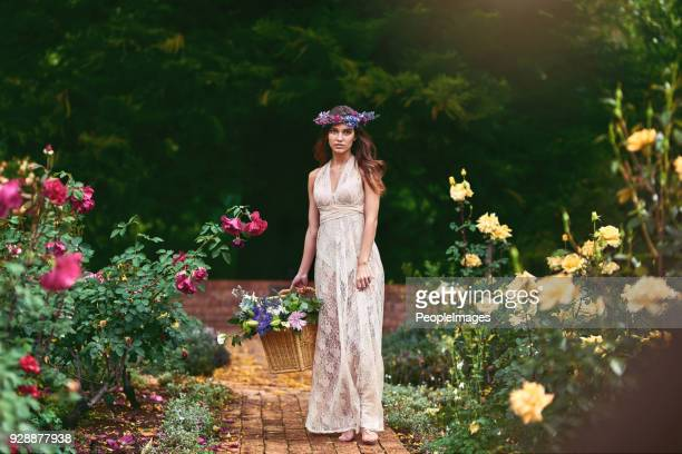 following the flower path to pick the best flowers - roman goddess stock pictures, royalty-free photos & images