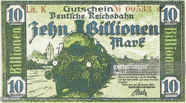 Following the hyperinflation in Germany the Reichsbank issued banknotes like this worth 10 billions Mark