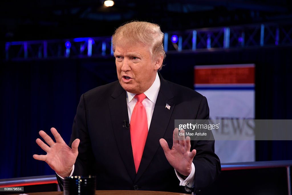 WEEK - 2/7/16 - Following the Republican Presidential Debate, George Stephanopoulos interviews Donald Trump and Marco Rubio from St. Anselm College in Manchester, NH, airing on the ABC Television Network and all ABC News platforms. DONALD
