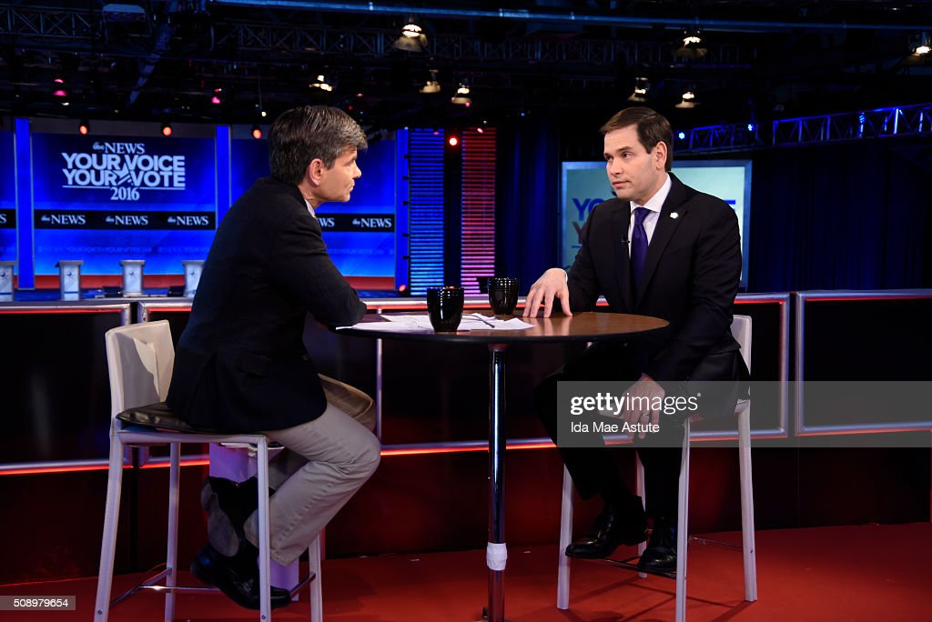 WEEK - 2/7/16 - Following the Republican Presidential Debate, George Stephanopoulos interviews Donald Trump and Marco Rubio from St. Anselm College in Manchester, NH, airing on the ABC Television Network and all ABC News platforms. GEORGE