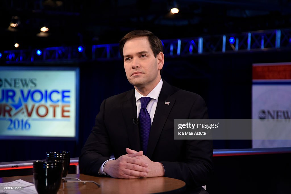 WEEK - 2/7/16 - Following the Republican Presidential Debate, George Stephanopoulos interviews Donald Trump and Marco Rubio from St. Anselm College in Manchester, NH, airing on the ABC Television Network and all ABC News platforms. MARCO