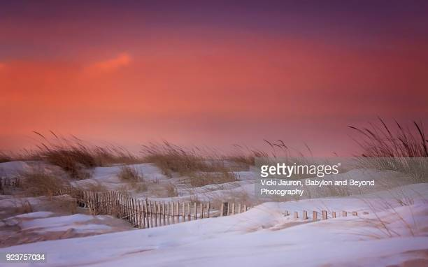 following the snow fence at jones beach, long island, new york - january stock pictures, royalty-free photos & images