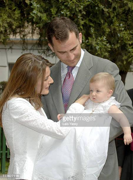 Following the Spanish Royal Family tradition Prince Felipe and Princess Letizia presented their daughter little Princess Leonor to the Atocha Virgin...