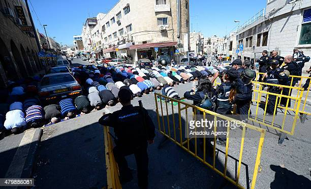 Following the tension caused by Israeli security forces not letting under40s to enter AlAqsa Mosque Muslims performing the friday prayer at the...