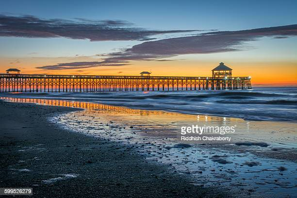 folly beach dawn - template_talk:south_carolina stock pictures, royalty-free photos & images