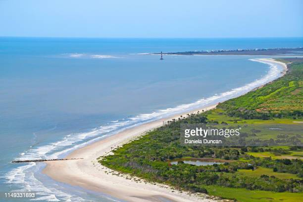 folly beach from above - template_talk:south_carolina stock pictures, royalty-free photos & images