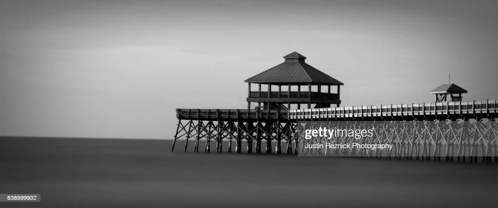 Folly Beach Pier Black And White High
