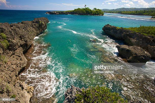 A view of blue-green water at Folly Point Lighthouse, Jamaica.