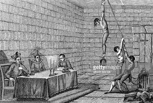 Folter während des Verhörsvor dem Inquisitionsgericht in Spanien17JhKupferstich