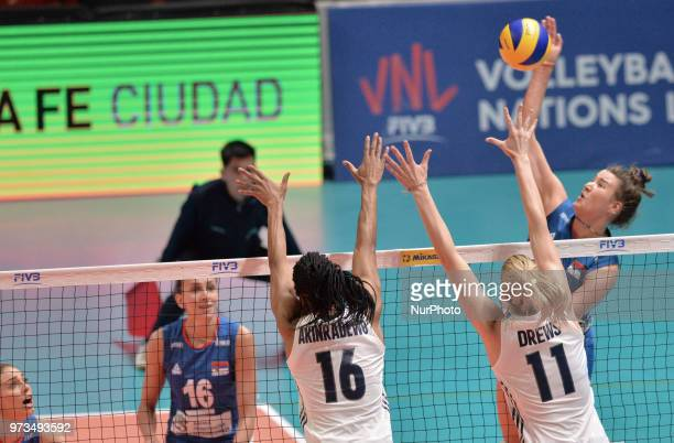 Foluke Akinradewo and Annie Drews of USA in action during FIVB Volleyball Nations League on 12 June 2018 in Santa Fe Argentina The US Womens National...